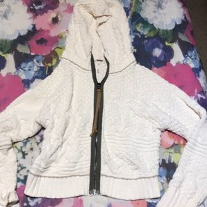 free people thick cropped hoodie zip up sweater